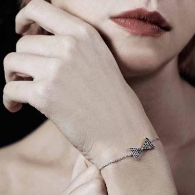 Bracelet diamant noir Noeud Papillon