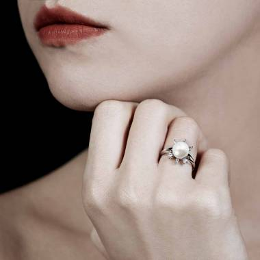 Bague perle blanche Louna