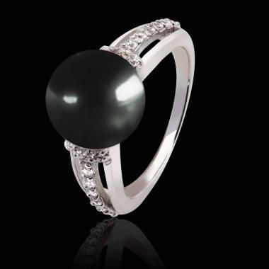 Bague perle Tahiti noir Melina