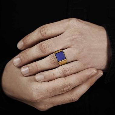 Chevaliere or rose Lapis lazuli Adam