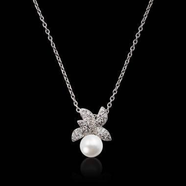 Pendentif perle blanche Akoya 6.5 mm pavage diamants