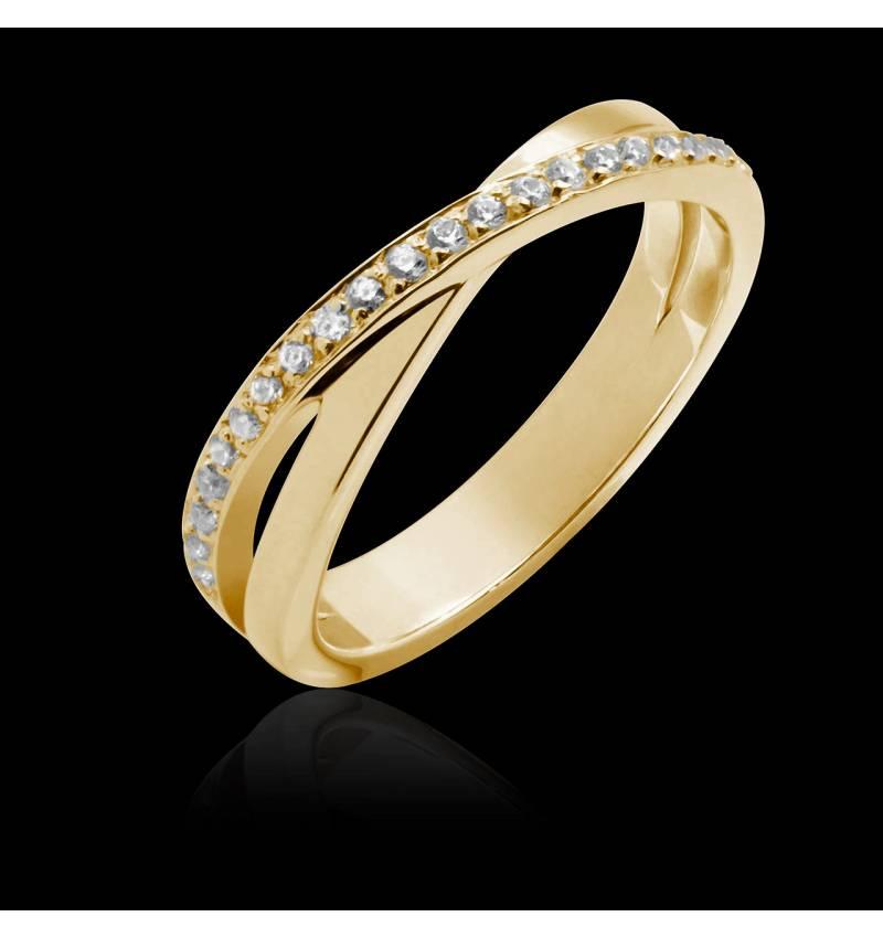 Alliance or jaune 18K , pavage diamants, Louise