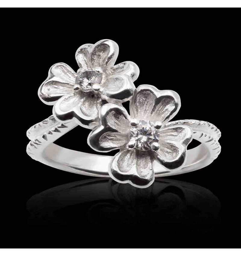 Bague diamant en or blanc palladié 18K Mya