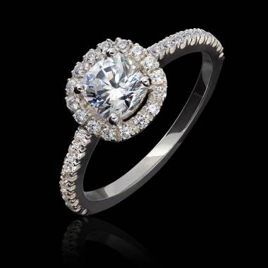 Bague diamant coussin, pavage diamants, or blanc, Alice