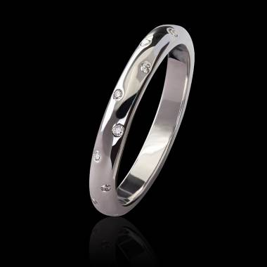 Alliance mariage or blanc 18K, pavage diamants Appoline