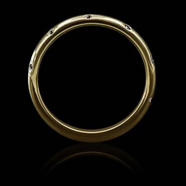 Alliance mariage or jaune 18K, pavage diamants