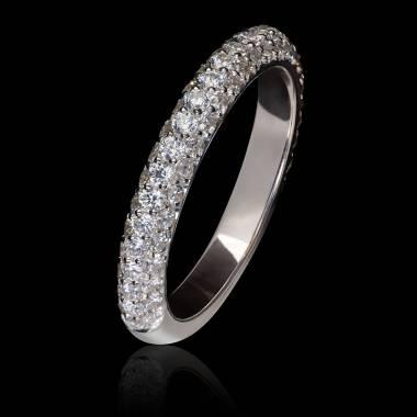 Alliance mariage or blanc palladié 18K, pavage diamants Audrène