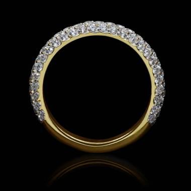 Alliance mariage or jaune 18K, pavage diamants Audrène