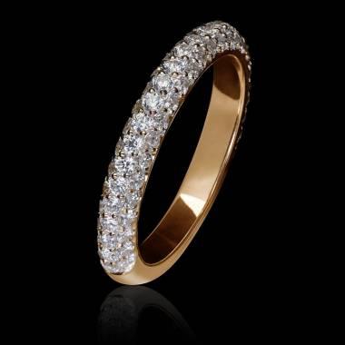 Alliance mariage en or rose 18K, pavage diamants Audrène
