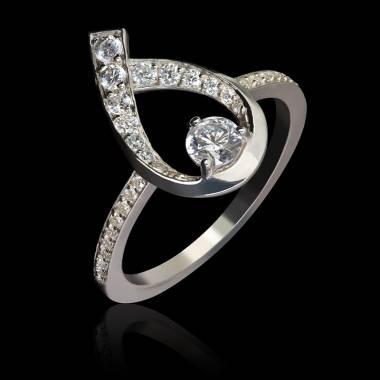 Bague fiançailles diamant et or blanc Flamme