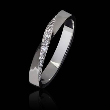 Alliance mariage femme or blanc palladié 18K pavage diamants Auxence