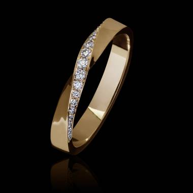 Alliance mariage femme or rose 18K-diamants-Auxence