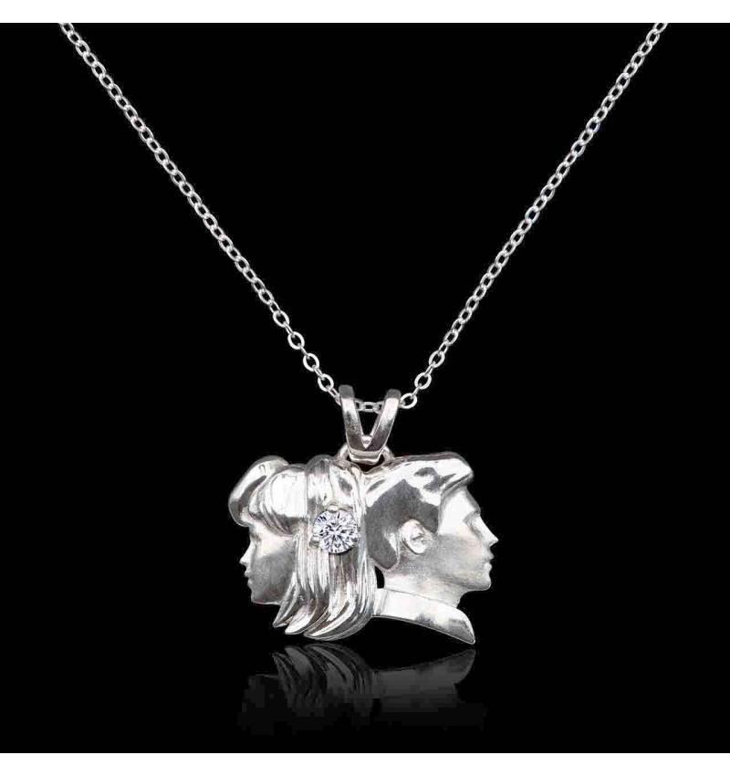 Pendentif astrologie Gémeaux en or blanc-diamant