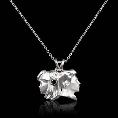 Pendentif astrologie gémeaux diamant noir