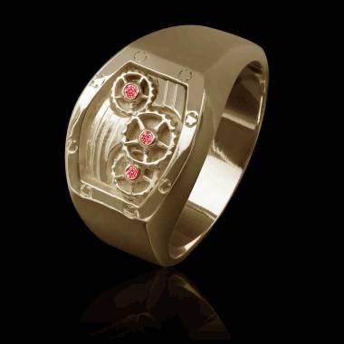 Chevalière or rose-rubis-monture montre-Verso