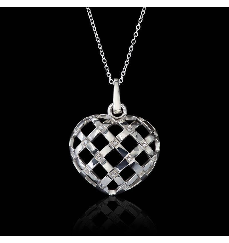 Pendentif diamant- or blanc 18K- Coeur Entrelacé