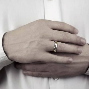 Alliance mariage bicolore or jaune 18K Albert