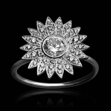 Bague diamant-pavage diamant-or blanc-Marguerite