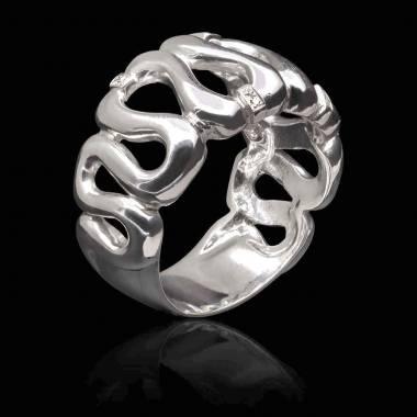 Bague diamant- or blanc-Boreale