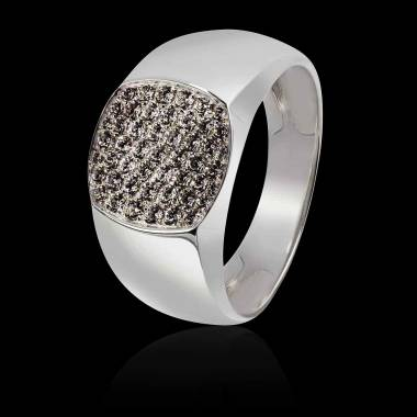 Chevaliere homme-platine-diamant noir-Massimiliano