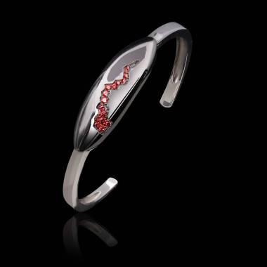 Bracelet rubis-or blanc-quake