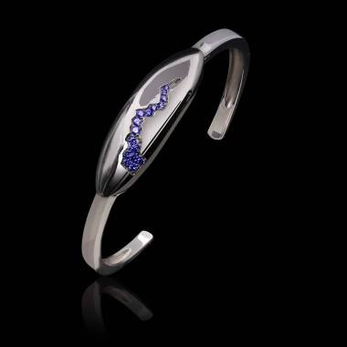 Bracelet saphir bleu-or blanc-quake