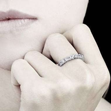 Alliance de mariage pavage diamant 0,7 carat or blanc Jupiter