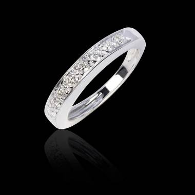 Alliance de mariage pavage diamant 0,7 carat or blanc Deliciae