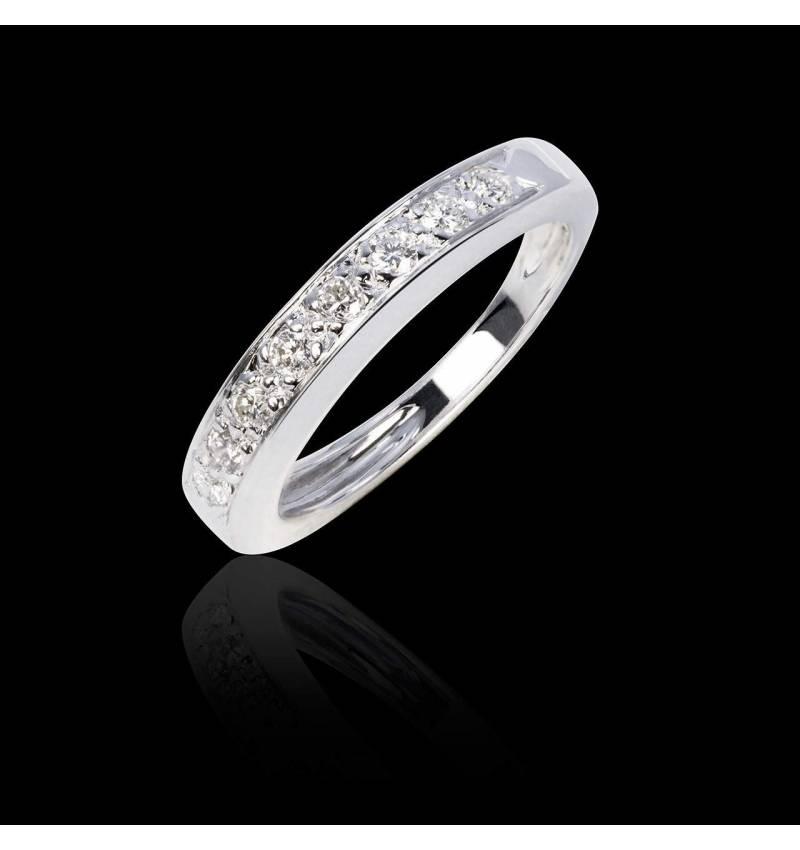 Alliance de mariage pavage diamant 0,7 carat platine Deliciae