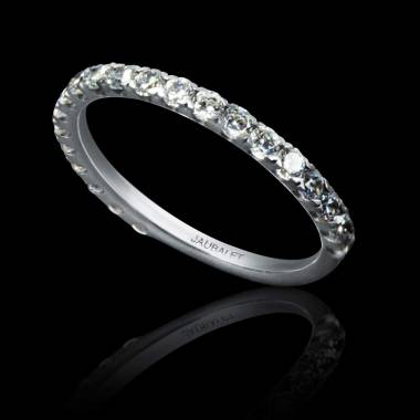 Alliance de mariage pavage diamant 0,7 carat or blanc Emilie