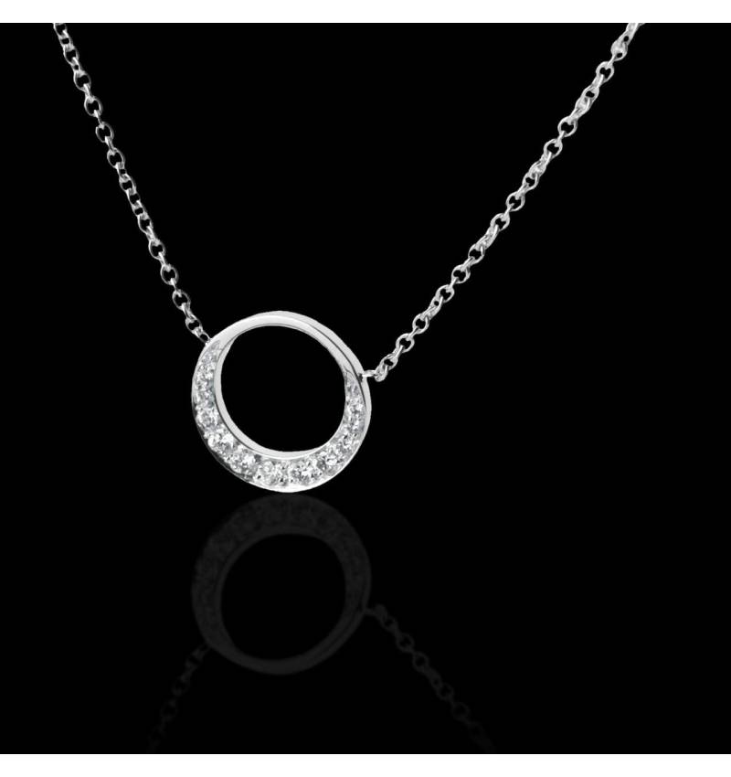 Pendentif pavage diamant or blanc 18 K (4 g) Clair de Lune