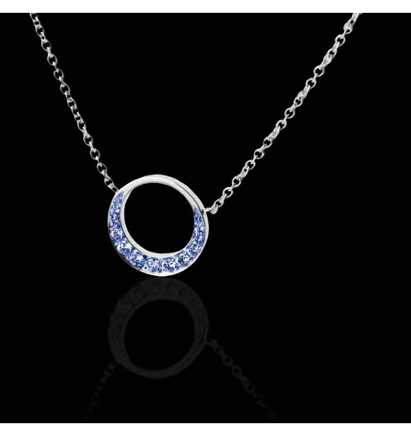 Pendentif pavage saphir bleu (0,26 carat) or blanc 18 K (4 g) Clair de Lune