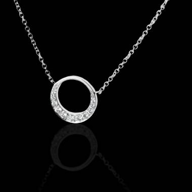 Pendentif pavage diamant (0,26 carat) or blanc 18 K (4 g) diamètre 16 mm Clair de Lune