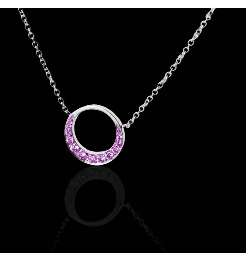 Pendentif pavage saphir rose (0,26 carat) or blanc 18 K (4 g) diamètre 16 mm Clair de Lune