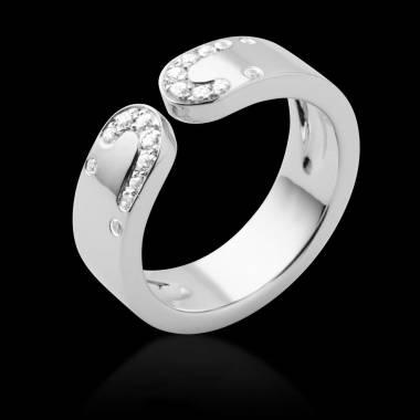 Alliance de mariage pavage diamant 0,5 carat or blanc Séductrice