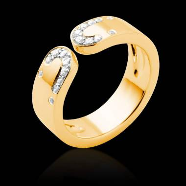 Alliance de mariage pavage diamant 0,6 carat or jaune Séductrice