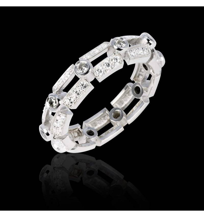 Alliance de mariage diamant 0,5 carat pavage diamant or blanc Terre