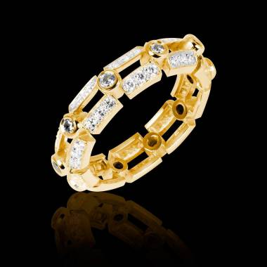 Alliance de mariage diamant 0,6 carat pavage diamant or jaune Terre