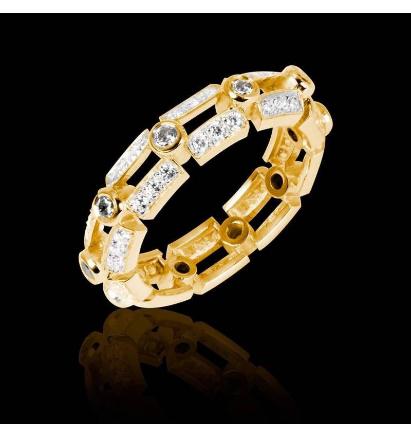 Alliance de mariage diamant 0,6 carat pavage diamant or jaune Terre