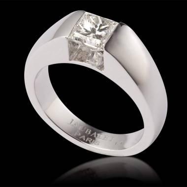 Bague de fiançailles diamant or blanc Pyramide