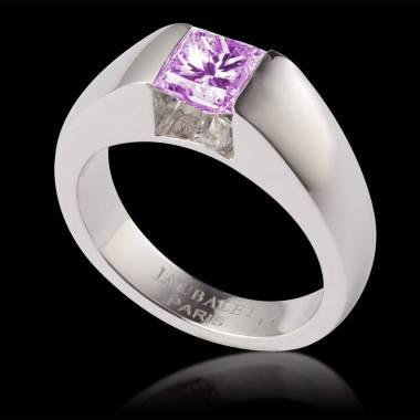 Bague de fiançailles saphir rose or blanc Pyramide