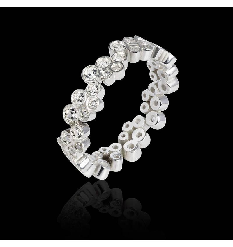 Alliance de mariage pavage diamant 0,5 carat or blanc Neptune