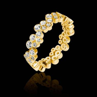 Alliance de mariage pavage diamant 0,6 carat or jaune Neptune