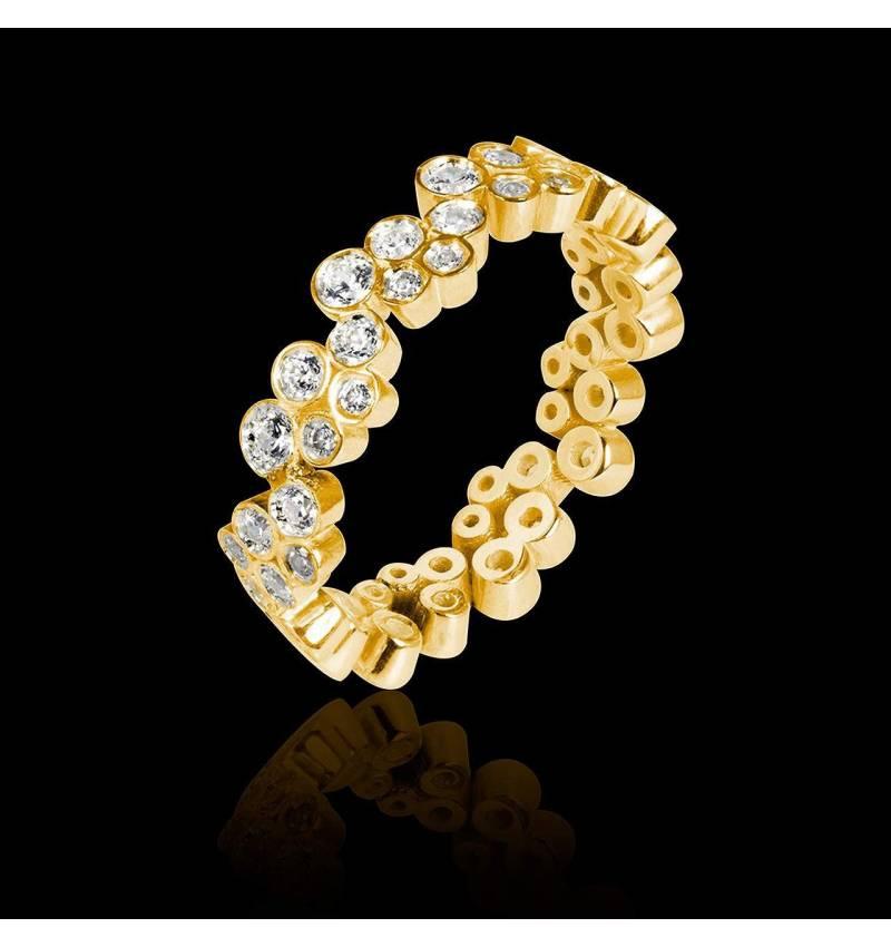 Alliance de mariage pavage diamant 0,6 carat or jaune Neptune