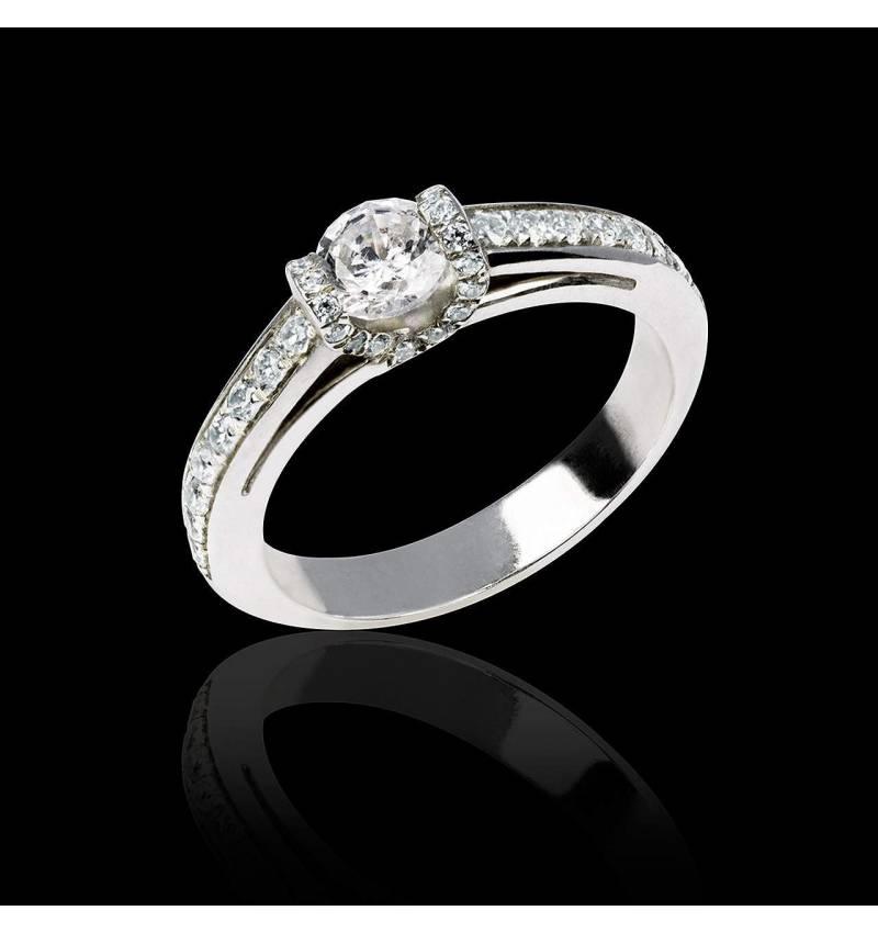 Bague de fiançailles diamant pavage diamant or blanc Hera