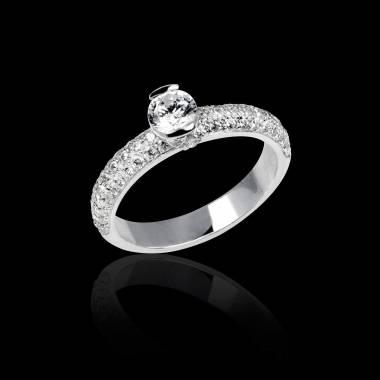Bague de fiançailles diamant pavage diamant or blanc Orphée
