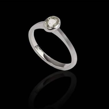 Solitaire diamant ovale or blanc Moon solo