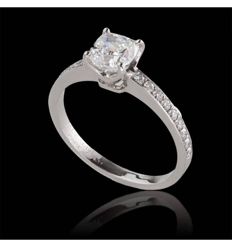 Bague de fiançailles diamant pavage diamant or blanc Sandy