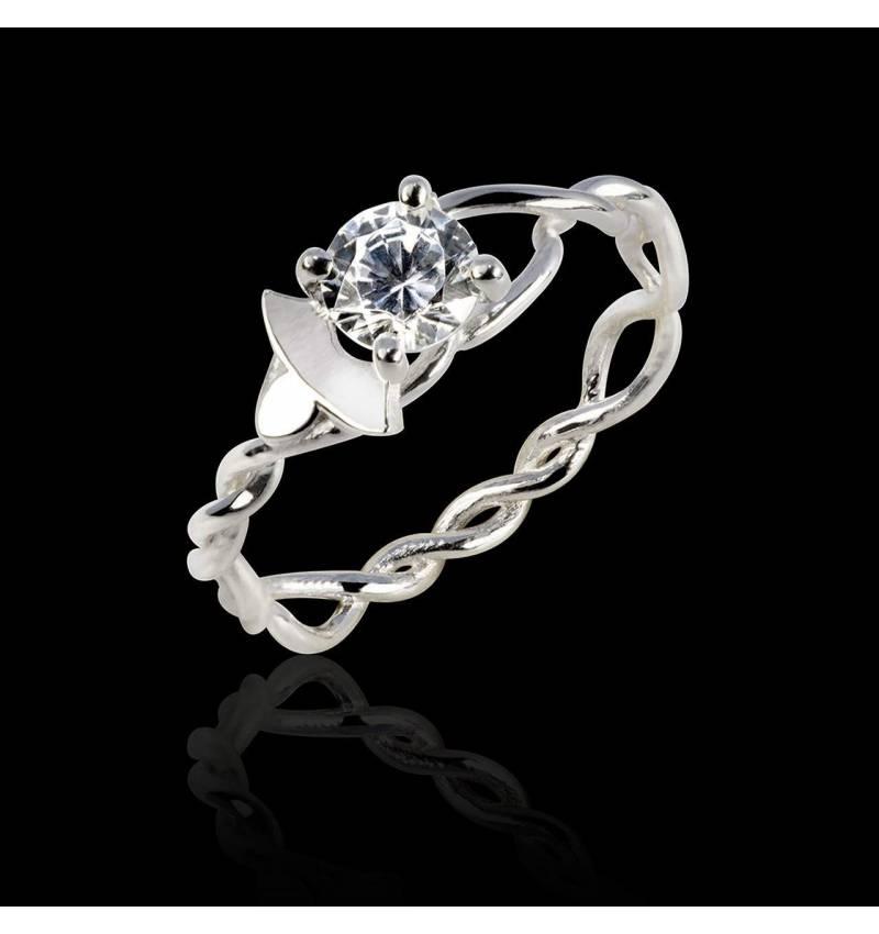 Bague de fiançailles diamant or blanc Vigne