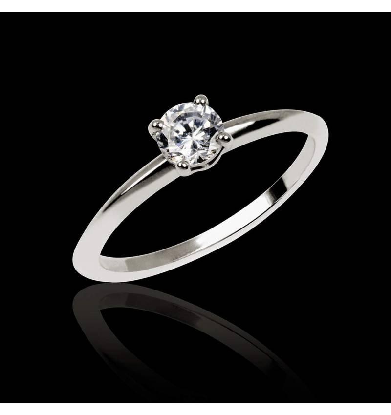 Solitaire diamant or blanc Valentina